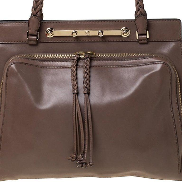 Valentino Dark Taupe Leather Demetra Tote For Sale 5