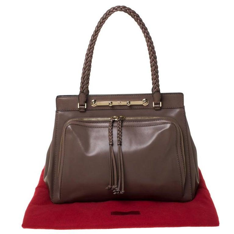 Valentino Dark Taupe Leather Demetra Tote For Sale 7