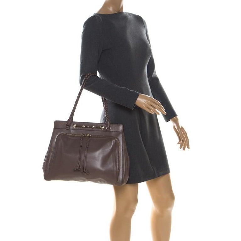 Gray Valentino Dark Taupe Leather Demetra Tote For Sale