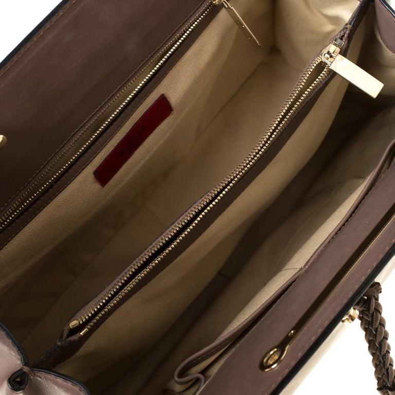 Women's Valentino Dark Taupe Leather Demetra Tote For Sale