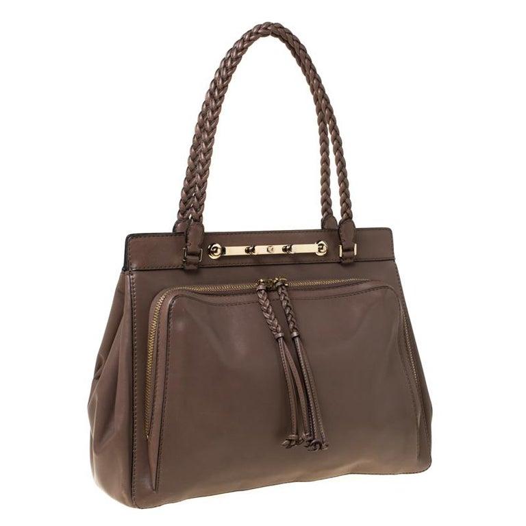 Valentino Dark Taupe Leather Demetra Tote For Sale 1