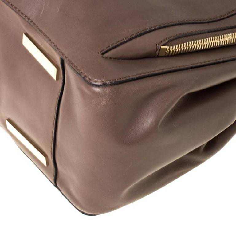 Valentino Dark Taupe Leather Demetra Tote For Sale 2