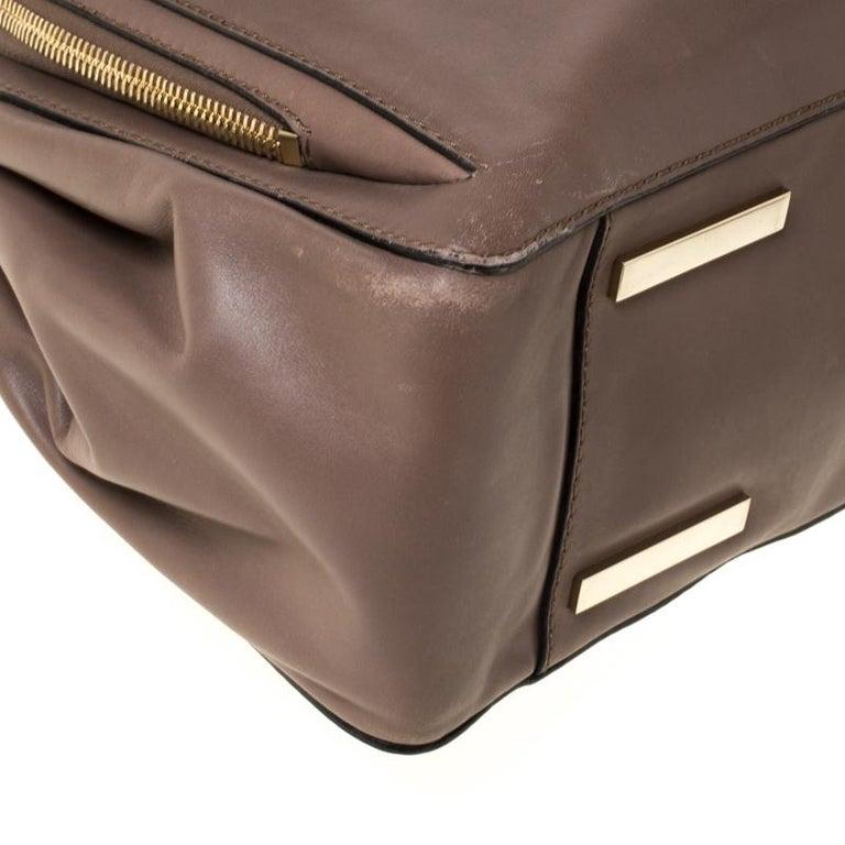 Valentino Dark Taupe Leather Demetra Tote For Sale 3