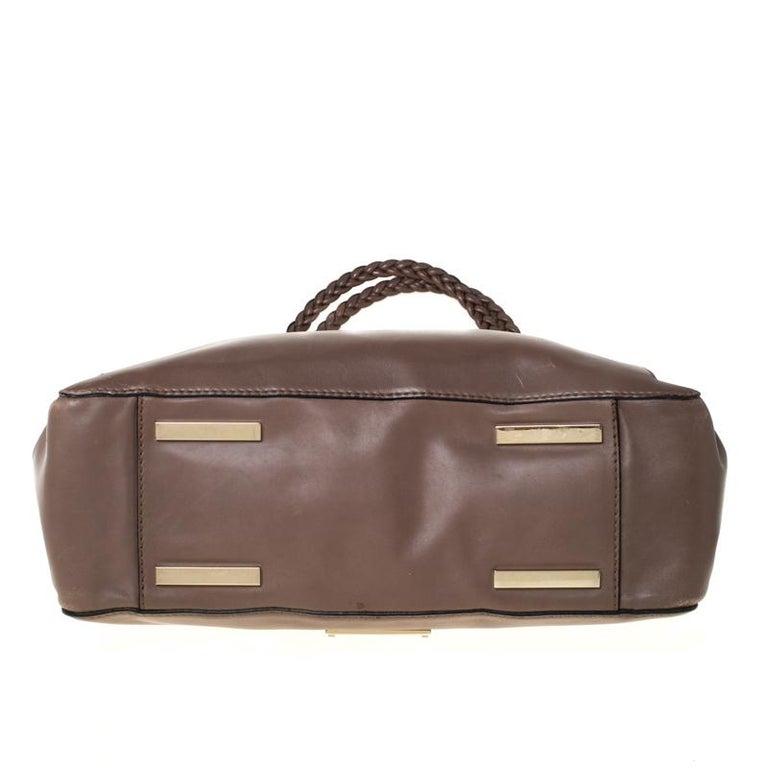 Valentino Dark Taupe Leather Demetra Tote For Sale 4
