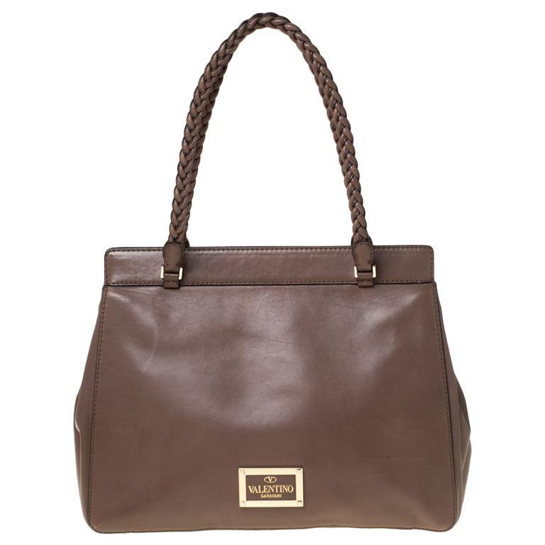 Valentino Dark Taupe Leather Demetra Tote For Sale