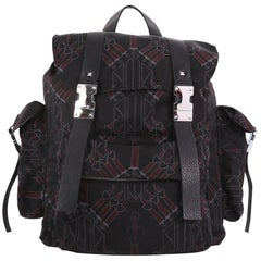 Valentino Double Buckle Backpack Love Blade Printed Nylon Large