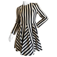 Valentino Dramatic Op Art Black and White Stripe Cocktail Dress New with Tags