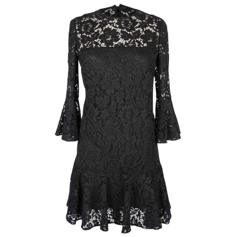Valentino Dress Black Lace Ruffled Three Quarter (3/4) Sleeve and Hemline  4