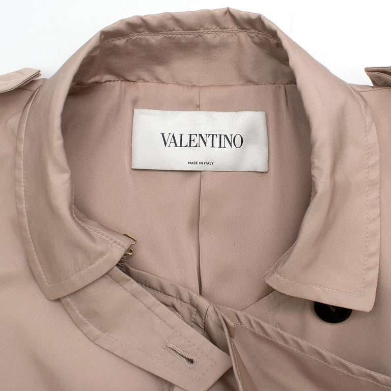 Valentino Dusky Pink Silk Blend Ruffled Trench Coat 14 UK In Good Condition For Sale In London, GB