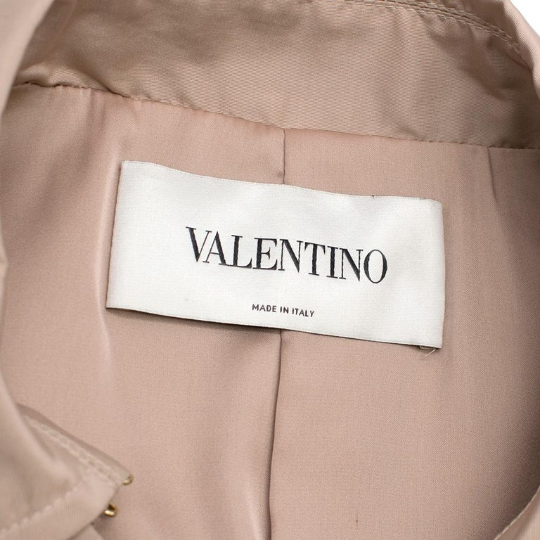 Women's Valentino Dusky Pink Silk Blend Ruffled Trench Coat 14 UK For Sale