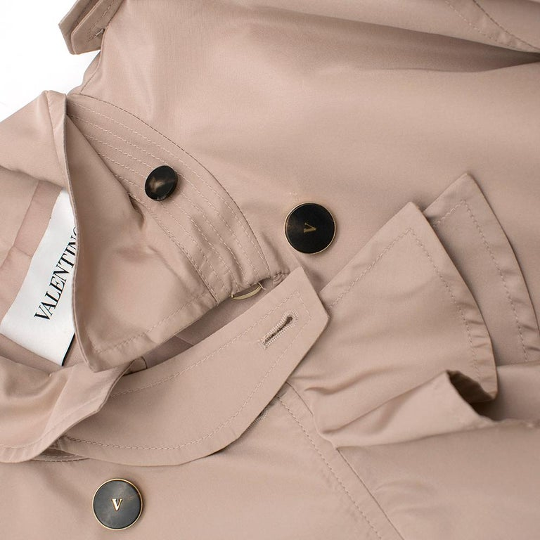 Valentino Dusky Pink Silk Blend Ruffled Trench Coat 14 UK For Sale 1