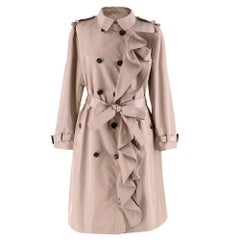 Valentino Dusky Pink Silk Blend Ruffled Trench Coat 14 UK