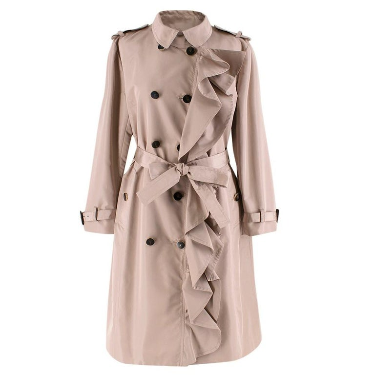 Valentino Dusky Pink Silk Blend Ruffled Trench Coat 14 UK For Sale