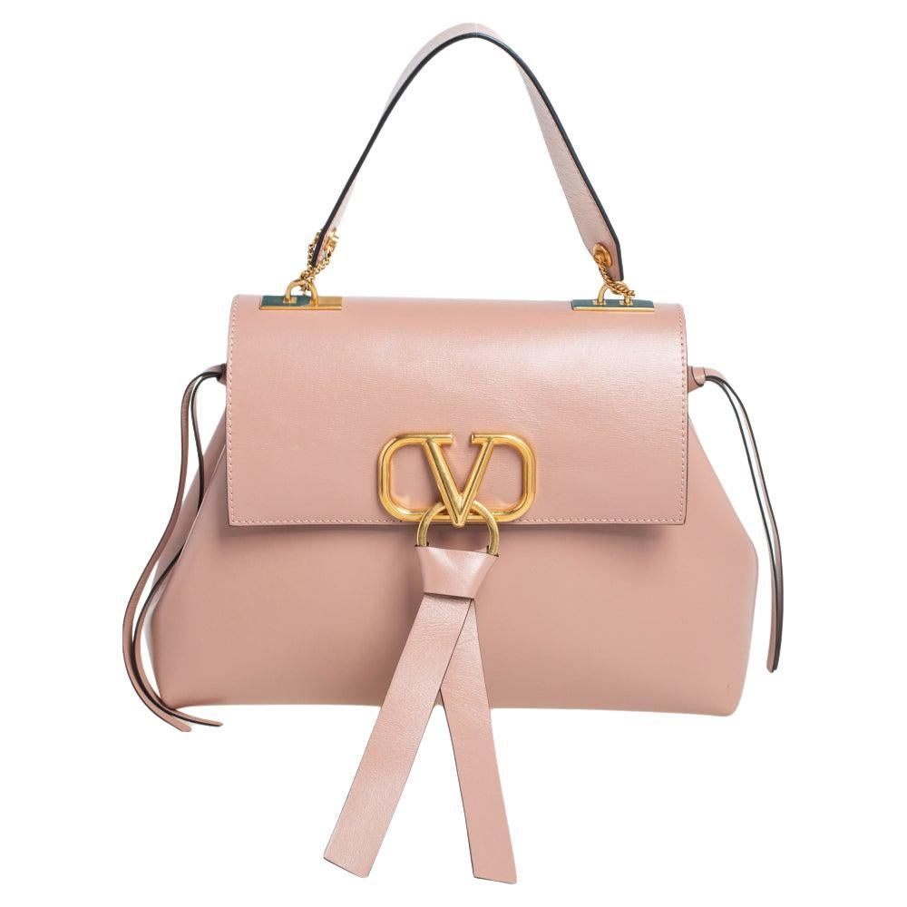 Valentino Dusty Pink Leather Small VRING Top Handle Bag