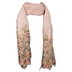 VALENTINO dusty rose cashmere PLISSE & LACE Shawl Scarf