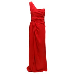 Valentino Edie Falco's Red Asymmetrical Pleated Gown