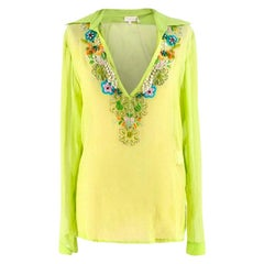 Valentino Embellished Green Sheer Silk Top - Size US 8