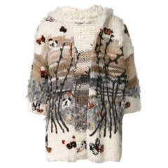 Valentino Embroidered Bouclé Wool-Blend Hooded Cardigan