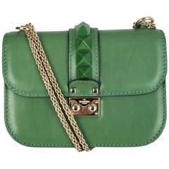 VALENTINO emerald green leather ROCKSTUD GLAM LOCK SMALL Shoulder Bag