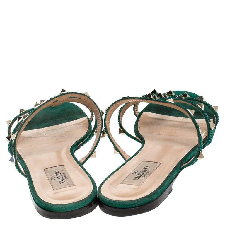 Black Valentino Emerald/Smeraldo Suede Rockstud Flat Slides Size 39 For Sale