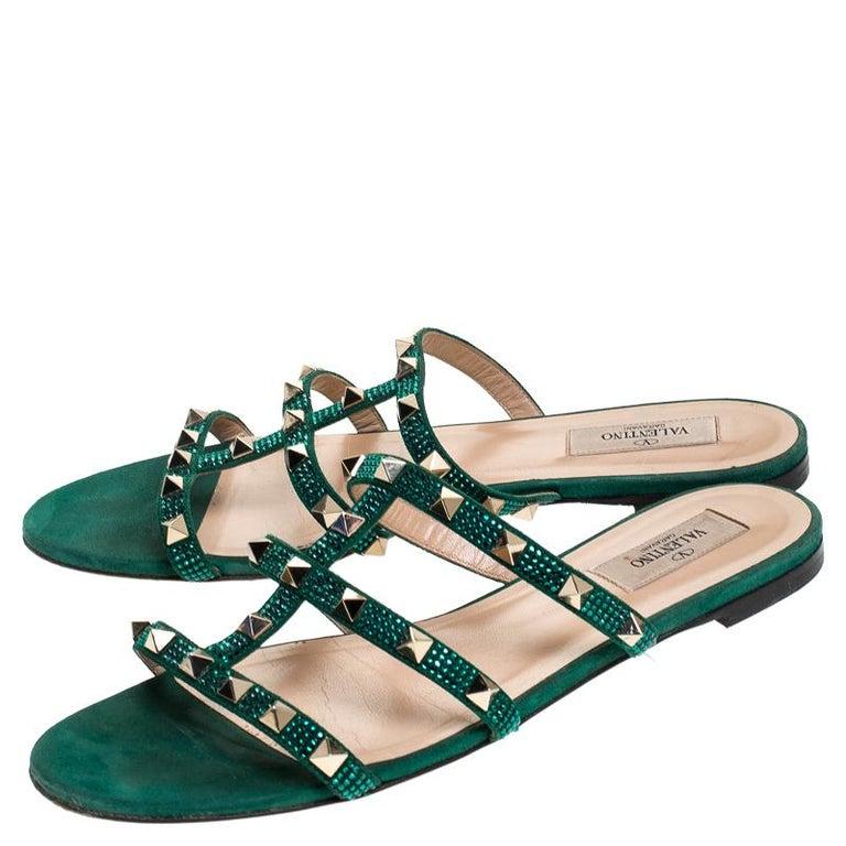 Women's Valentino Emerald/Smeraldo Suede Rockstud Flat Slides Size 39 For Sale