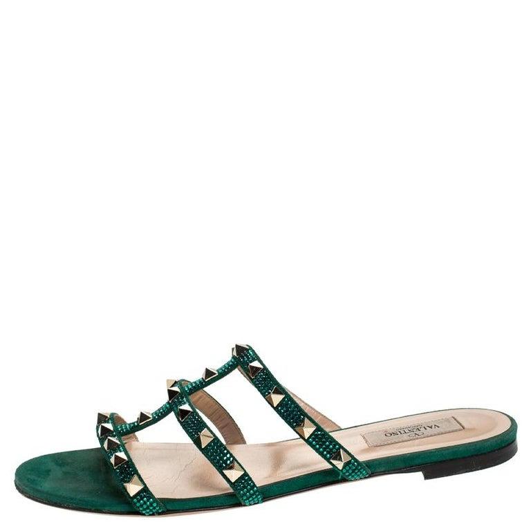 Valentino Emerald/Smeraldo Suede Rockstud Flat Slides Size 39 For Sale 1