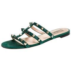 Valentino Emerald/Smeraldo Suede Rockstud Flat Slides Size 39