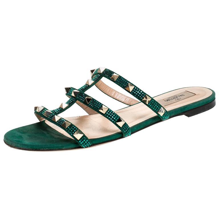Valentino Emerald/Smeraldo Suede Rockstud Flat Slides Size 39 For Sale