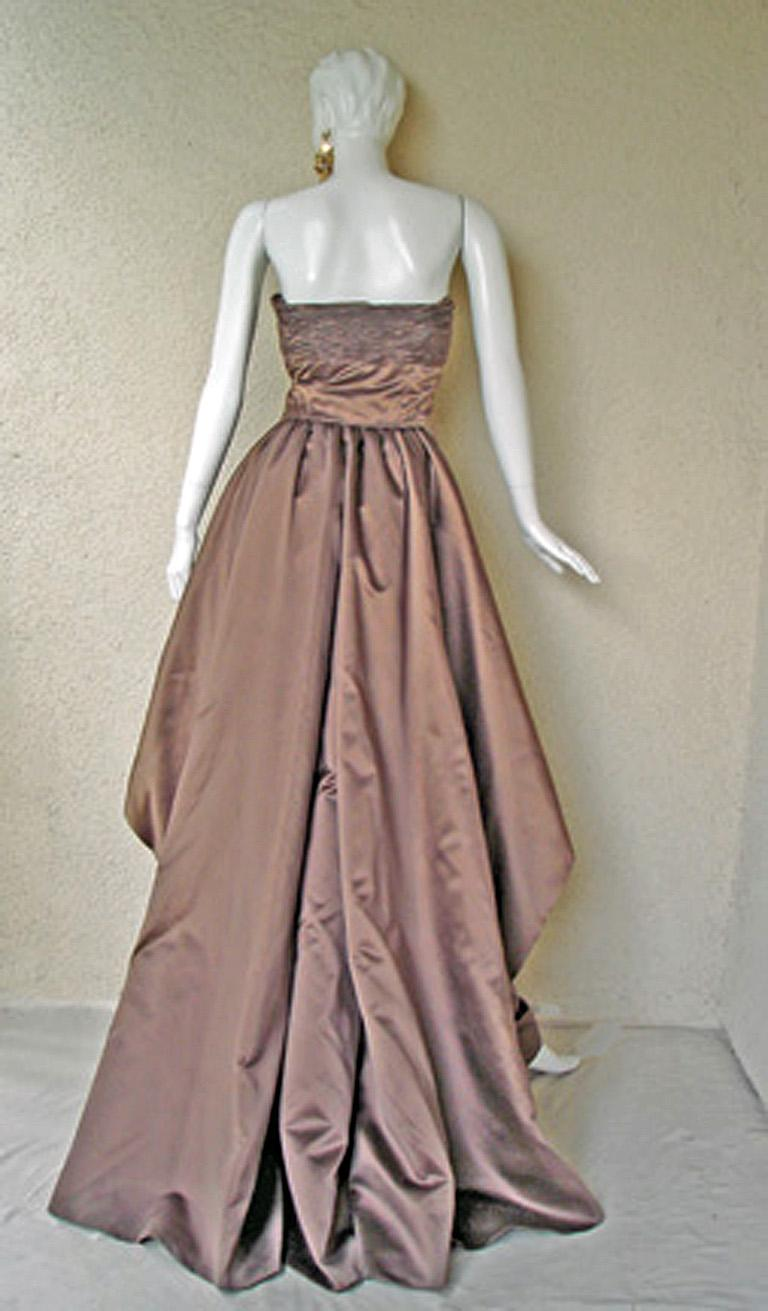 Brown Valentino Entrance Red Carpet Strapless Runway Ball Gown For Sale