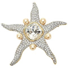 Valentino Faux Pearl and Glass Rhinestone Starfish Runway Pin Brooch Vintage