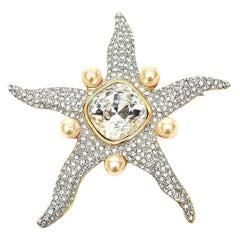 Valentino Faux Pearl and Glass Rhinestone Starfish Runway Pin Brooch Vintage