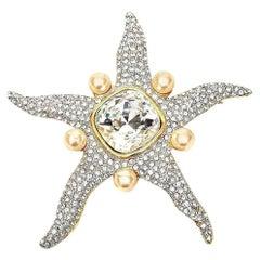 Valentino Faux Pearl and Glass Rhinestone Starfish Runway Pin / Brooch Vintage