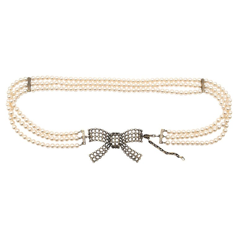 Valentino Faux Pearl Mesh Bow Buckle Belt For Sale