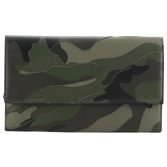 Valentino Flap Clutch Camo Leather and Canvas