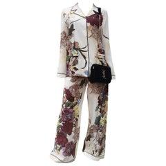 VALENTINO Floral Silk Crepe De Chine Pants Set Suit