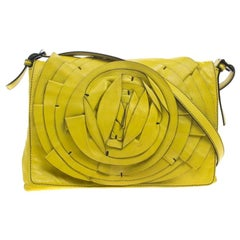 Valentino Fluorescent Yellow Leather Petale Shoulder Bag