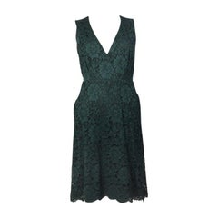 VALENTINO forest green cotton LACE Sleeveless Dress 40