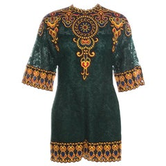 Valentino Forest Green Floral Guipure Lace Playsuit S