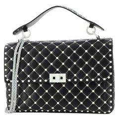 Valentino Free Rockstud Spike Flap Bag Quilted Leather Large