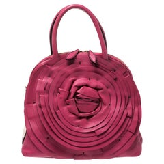 Valentino Fuchsia Leather Petale Rose Dome Satchel