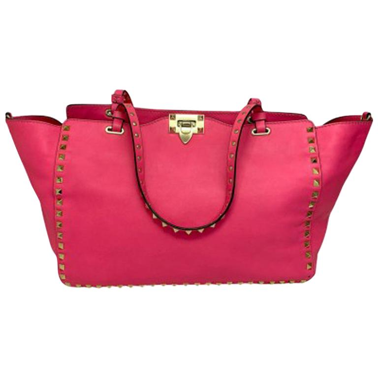 Valentino Fuchsia Leather  Rockstud Bag