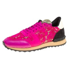 Valentino Fuchsia Pink Leather and Macramé Lace Sneakers Size 37
