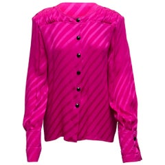 Valentino Fuchsia Striped Silk Blouse