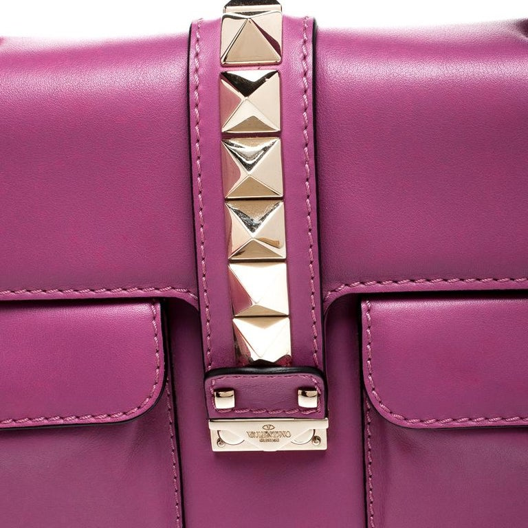 Valentino Fuschia Leather Rockstud Large Glam Lock Top Handle Bag For Sale 6