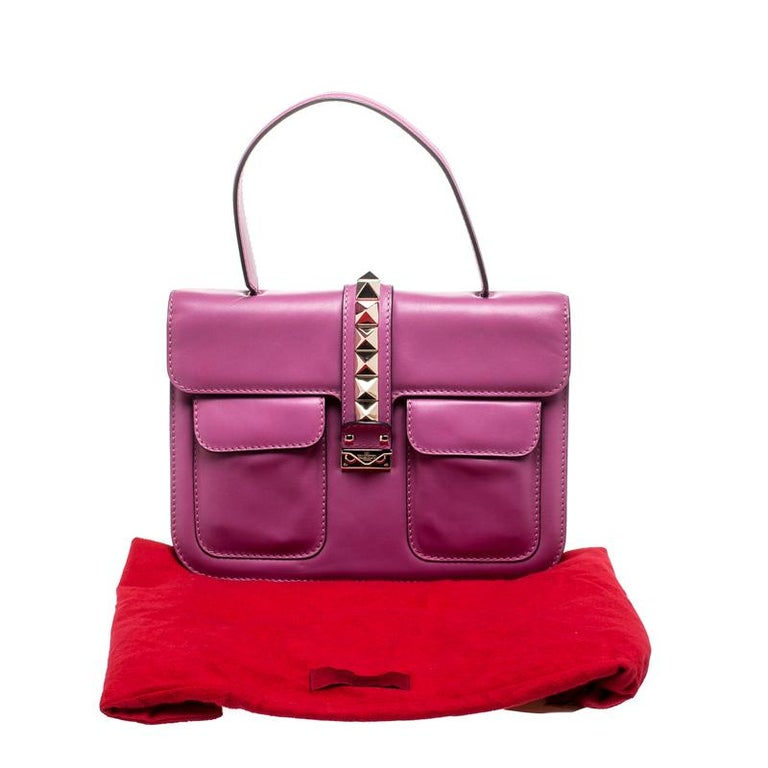 Valentino Fuschia Leather Rockstud Large Glam Lock Top Handle Bag For Sale 7