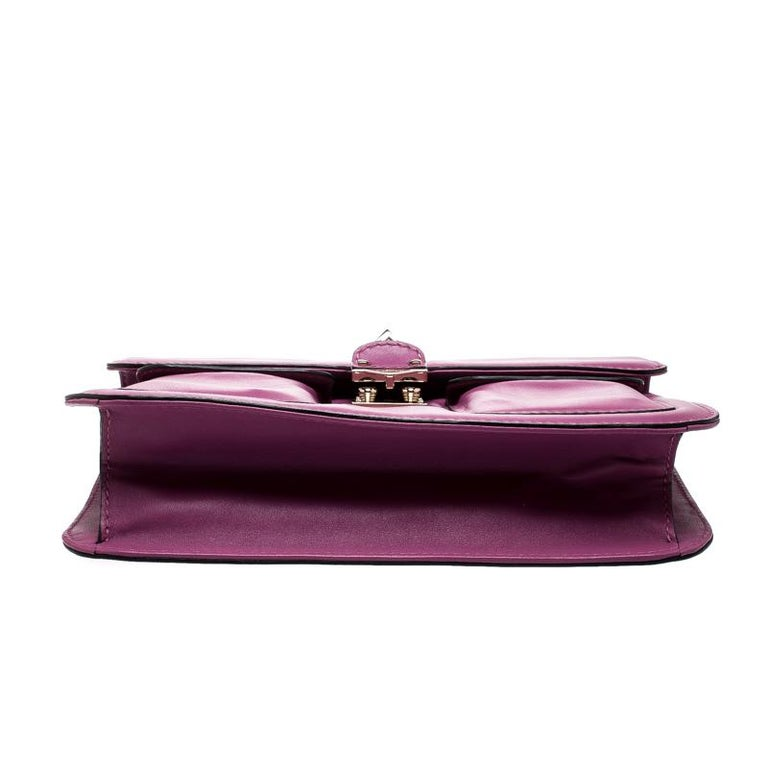 Women's Valentino Fuschia Leather Rockstud Large Glam Lock Top Handle Bag For Sale