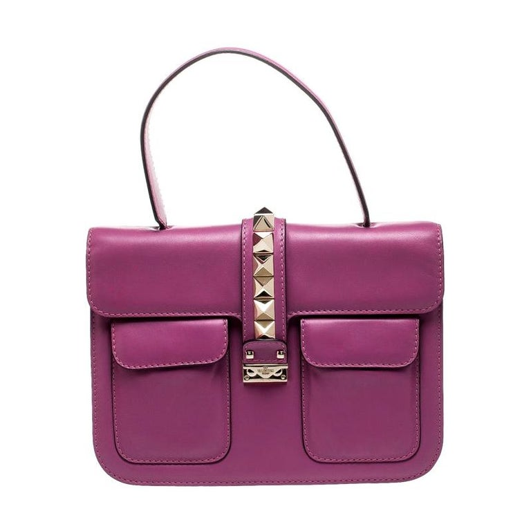 Valentino Fuschia Leather Rockstud Large Glam Lock Top Handle Bag For Sale