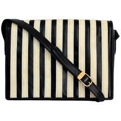 Valentino Garavani Black Beige Leather Shoulder Bag 1980s