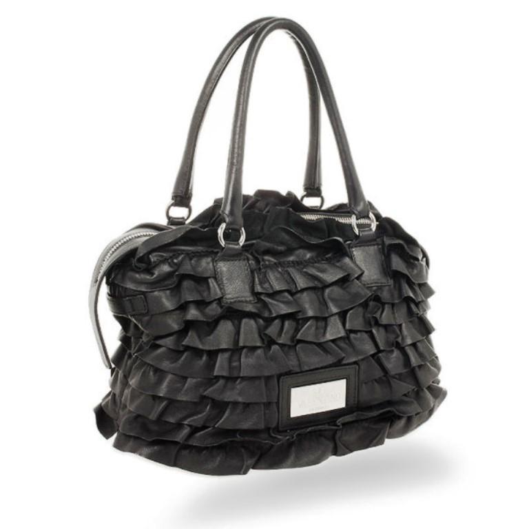 Valentino Garavani Black Ruffled Small Satchel In Good Condition For Sale In Dubai, AE