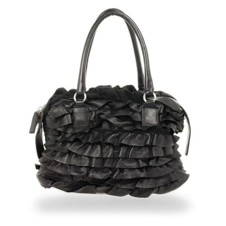 Women's Valentino Garavani Black Ruffled Small Satchel For Sale